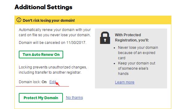 """进入域名管理面板,点击Locked后面的""""Edit""""解锁"""