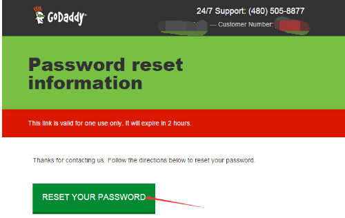 "点击邮件中的绿色""RESET YOUR PASSWORD"""