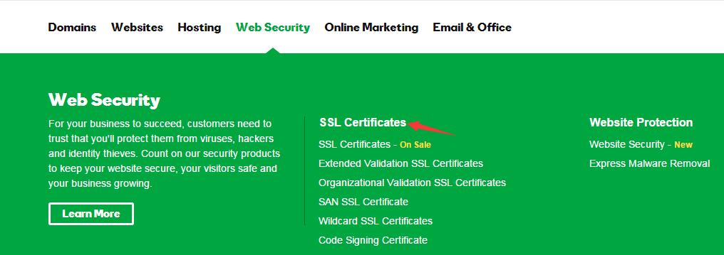 怎样使用优惠链接购买GoDaddy的SSL证书