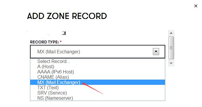 """在记录列表里我们选择""""MX"""""""