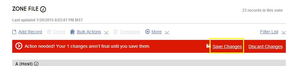 """.MX记录添加完成后,我们会看到下图中的红色提示,点击""""Save Changes""""保存即可"""