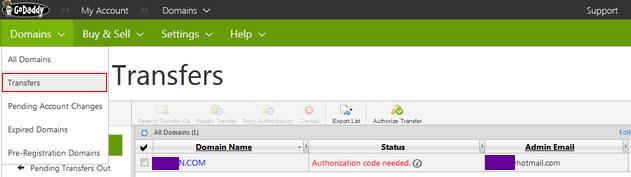 """域名管理页面,依次点击""""Domain""""→""""Transfers""""我们可以看到付款成功后的域名状态。"""