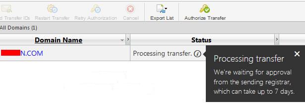 操作完成后返回到后台可以查看到域名转入的状态了